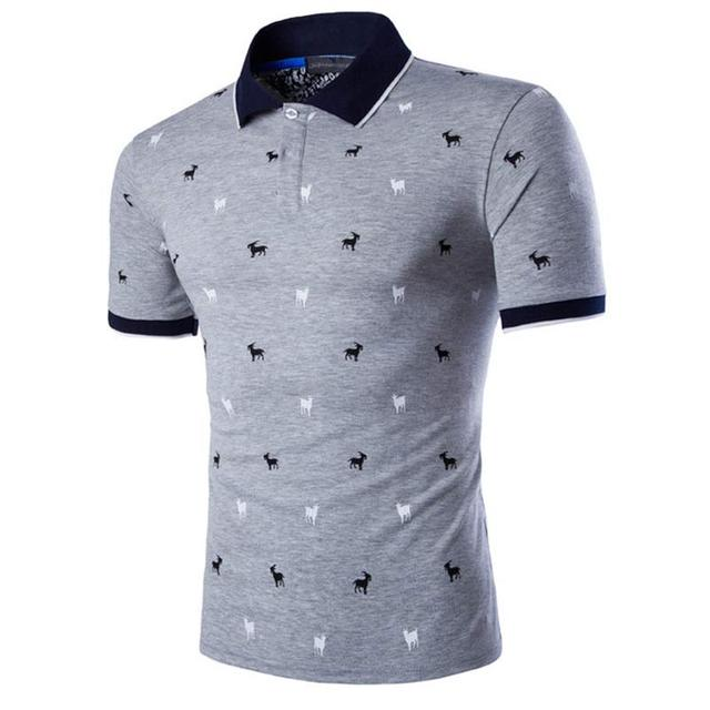 New Polo Homme Polo Shirt Men 2016 Mens Fashion Printed Short Sleeve Slim Fit Lapel Polo Shirt Brands Casual Gray Polos Men 5XL