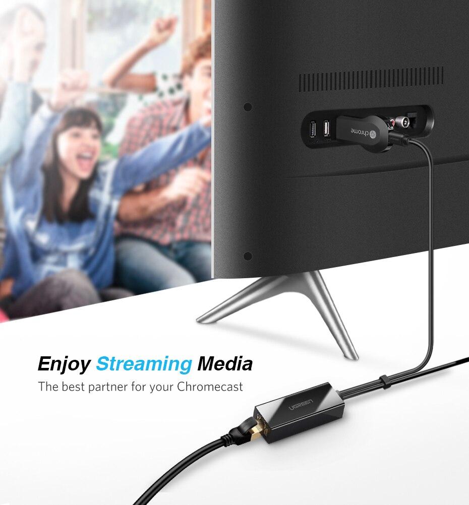 Ugreen Chromecast Ethernet Adapter USB 2.0 to RJ45 for Google ...