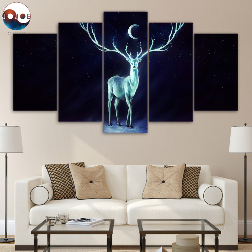 Stag Doe Red Deer At Sunset 5 Piece Canvas Print Wall Art