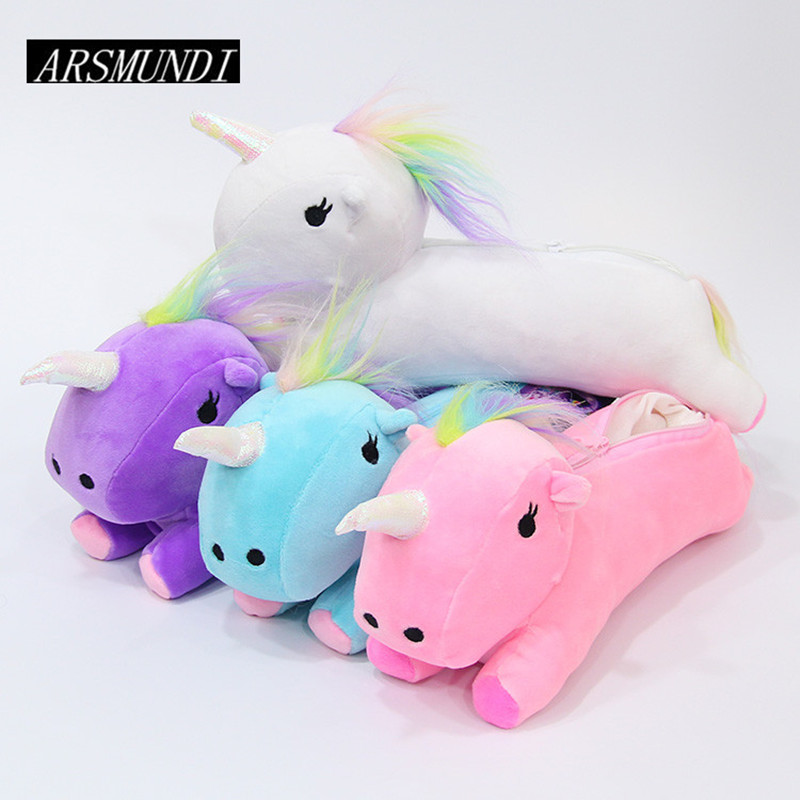 Plush Unicorn Pencil Case School Supplies Stationery Gift Students Cute Cat Pencil Box Pencilcase Pencil Bag Pen Case