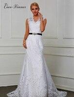 Vintage Lace Mermaid Wedding Dress Real Photo fish tail Custom Made Ivory White Sashes Trumpet Wedding Dressees W0075