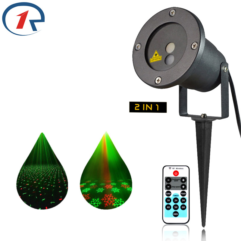 ZjRight Red Green laser lights Remote Control Waterproof IP65 Christmas Snow dynamic Laser projector Bar DJ party stage lights rg mini 3 lens 24 patterns led laser projector stage lighting effect 3w blue for dj disco party club laser