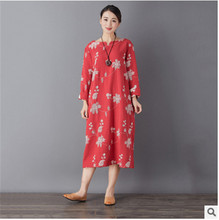 Retro art cotton embroidery double thick autumn and winter dress