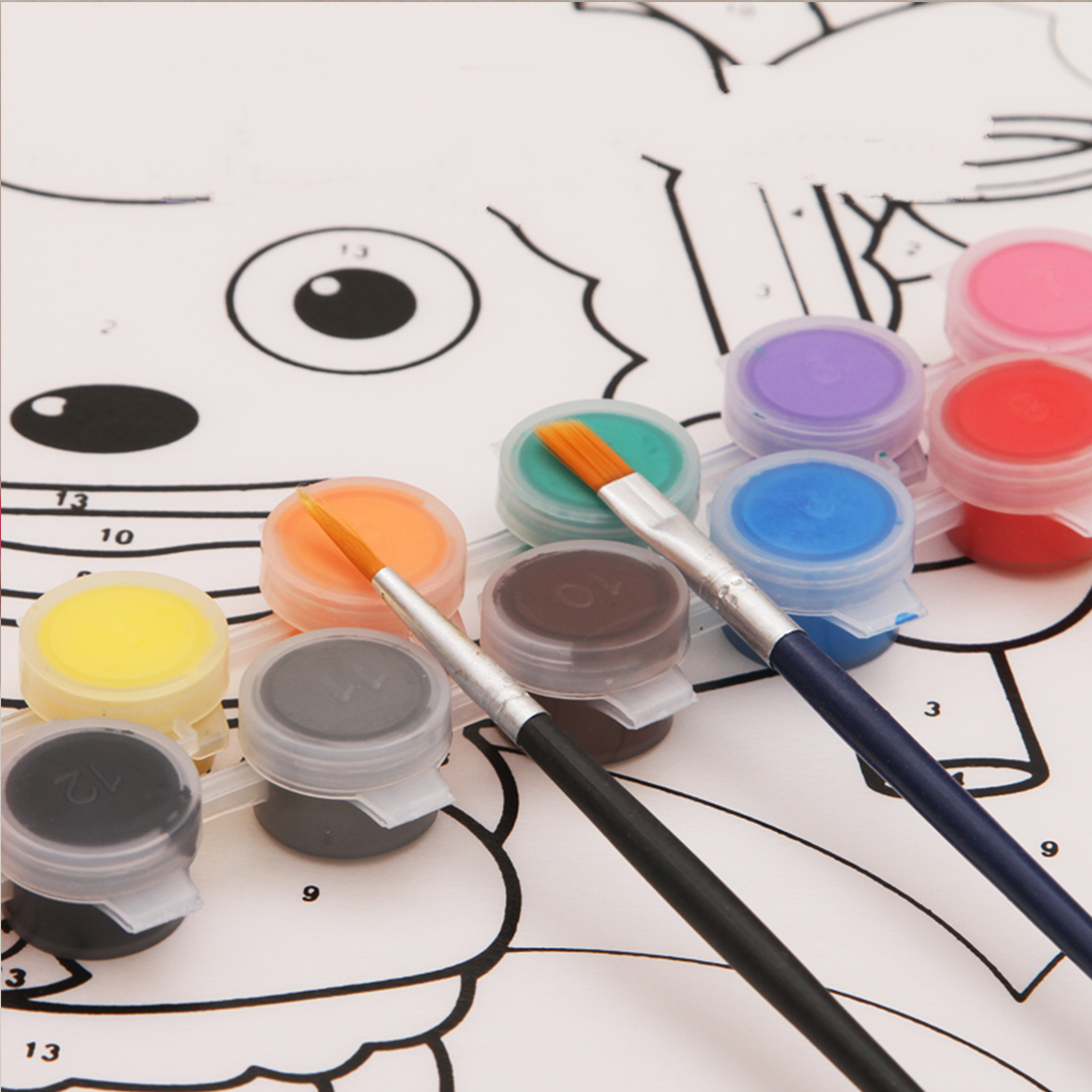 Acrylic Paints WaterBrush Pigment Set 12 Colors For Clothing Textile Fabric Hand Painted Wall Plaster Painting Drawing For Kids