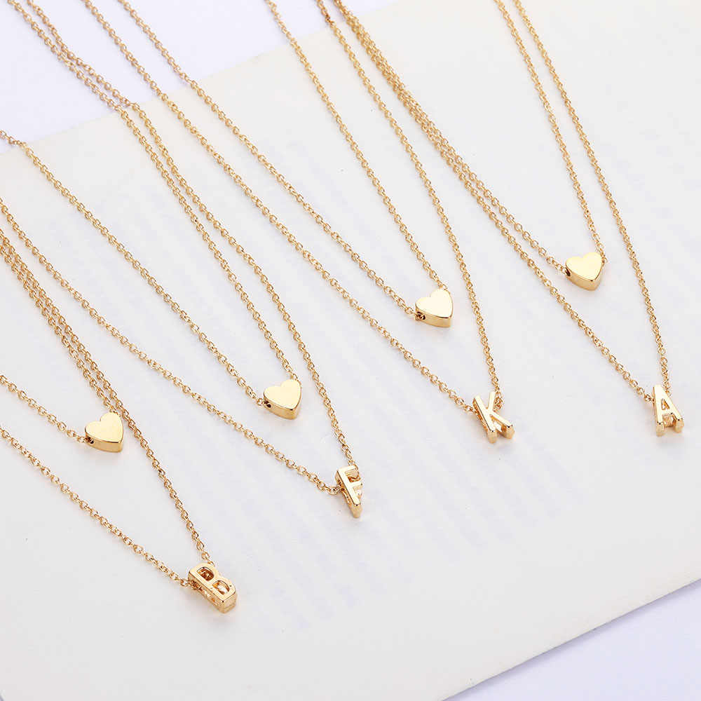 Double-layer necklace fashion ladies necklace 2019 heart combination letter pendant necklace European and American style