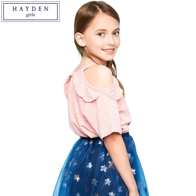 358608120c42a9 HAYDEN Girls Cold Shoulder Tops and Blouses Summer 2017 Brand Designer Kids  Tank Top Ruffle Shoulder Off Sleeve Shirt Size 7 14 -in Underwear from  Mother ...