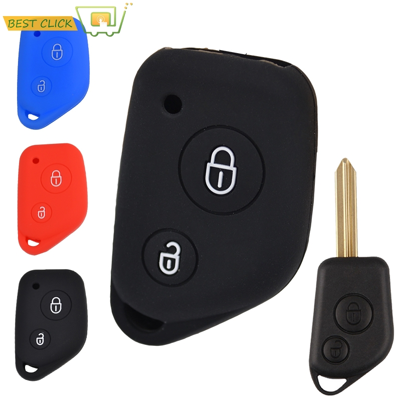 Creatief 2 Knop Silicone Remote Key Cover Fit Voor Peugeot 106 205 206 306 405 406 Citroen Berlingo Xsara Picasso Saxo Fob Shell Case