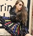 Mujeres de la marca de Mediano Falda Larga Personalidad Chaqueta de Plumón de pato Parkas Capucha de Piel 2016 Invierno Diseños Parche prendas de Vestir Exteriores Femenina Abrigo