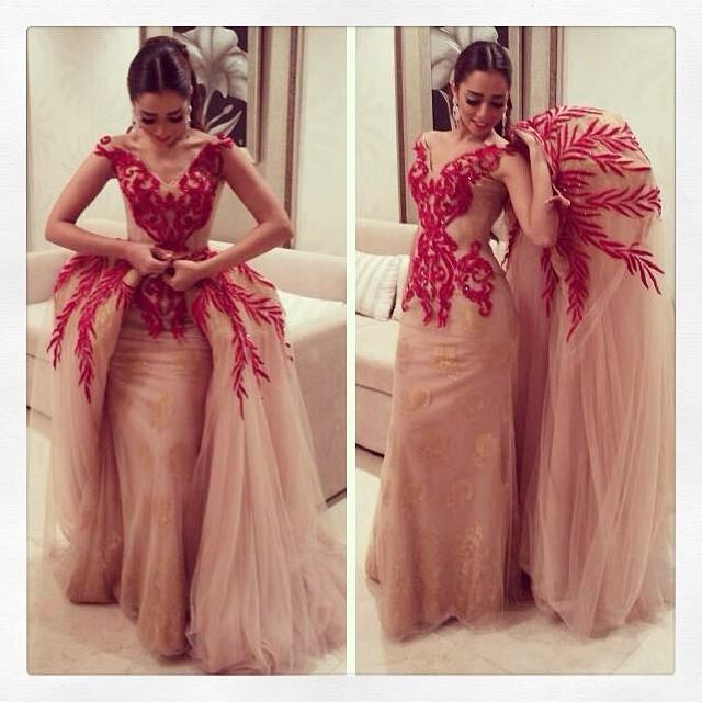 de66a35c XH-147 New Arrival Tulle Prom Dresses 2017 V-Neck Appliques Crystal Detachable  Train Spaghetti Straps Evening Gowns Custom Made