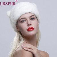 Ursfur inverno das mulheres orelhas de gato cap chapéu de pele de vison real com cauda de pele novo estilo de moda feminina com ajustável corda