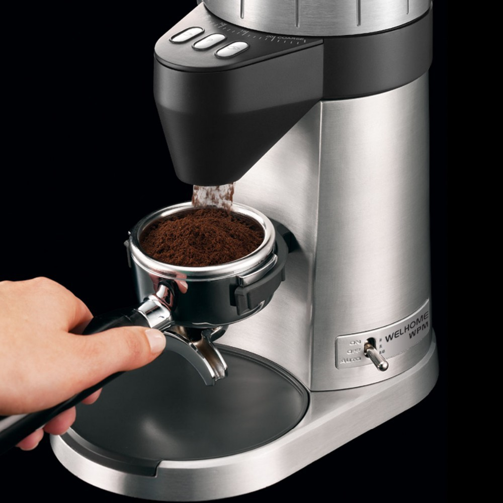 Welhome Wpm Professional Conical Burr Coffee Grinder Mill With Zd 10 Timer Black Factory Directly Sale And Excellent Service Best Price 1 2