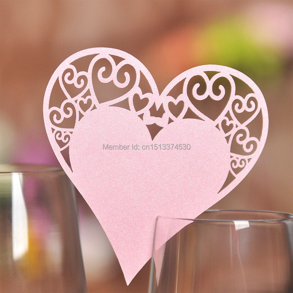 Free Shipping 36pcs Pink Heart Shaped Laser Cut Wedding Party Table ...