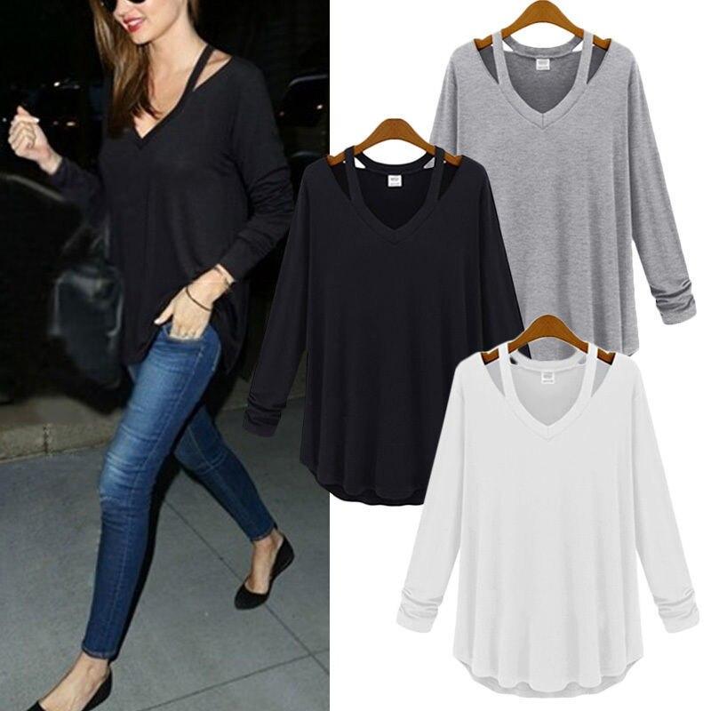 Plus Size 2015 Mulheres Casuais Camisa V Pescoço Fora Do Ombro blusa algodão Manga Comprida Tops T Camisas Moda Blusa Chemise Femme C14