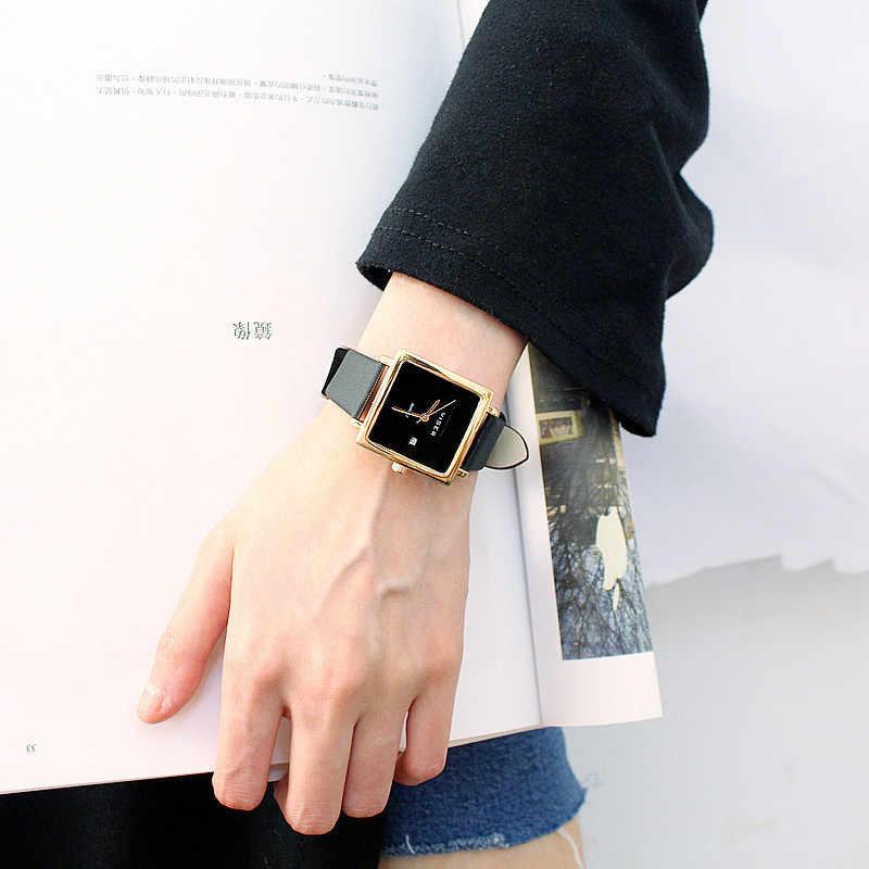 Различные социальные для женщин часы качество повседневное простой тенденции моды студент Дамы Площади календарные кварцевые часы relogio feminino