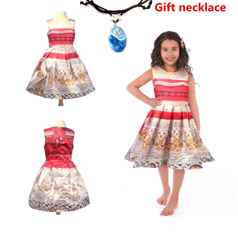 Princess Moana Short Sleeve Dress Girl Cosplay Costume Zipper Neckline Lace 3D Print Holiday Gift Pendant Necklace
