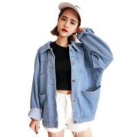 2018 Spring Autumn Womens Denim Jackets Plus Size New Single Breasted Blue Denim Jackets Jeans Women Ladies Jeans Coats QH1130