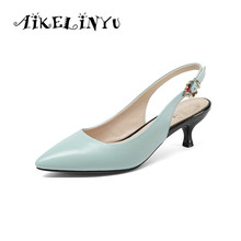 AIKELINYU 2019 Summer Blue Sexy Lady Party Sandals Buckle Back Strap New Pump High Thin Heel Wedding Elegant Shoes Woman
