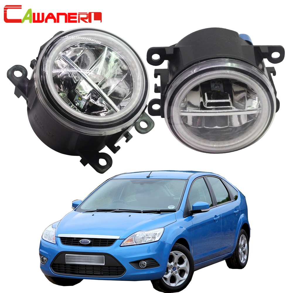 Cawanerl For <font><b>Ford</b></font> <font><b>Focus</b></font> MK2 <font><b>MK3</b></font> 2004-2015 Car <font><b>LED</b></font> Bulb 4000LM Front Fog Light + Angel Eye Daytime Running Light DRL 12V 2 Pieces image
