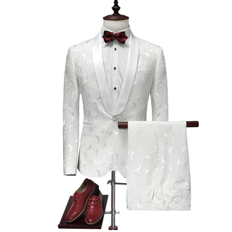 سترة + السراويل الرجال دعوى 2019 أحدث رفقاء تصاميم الزفاف الأبيض البدلات الرسمية للرجال يتأهل رجل الدعاوى العلامة التجارية الملابس 4XL-في بدلة من ملابس الرجال على  مجموعة 1