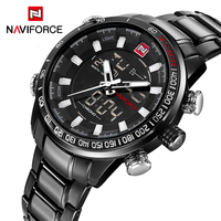 NAVIFORCE Luxury Brand Men Sports Quartz WATCH Full Steel Watches Men S LED Digital Military Waterproof
