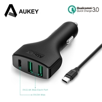 AUKEY Type C Car Charger 3 Port USB Car Charger With Qualcomm Quick Charge 3