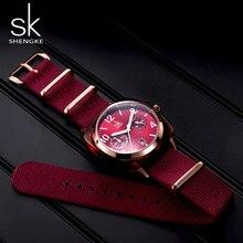 Shengke montre en Nylon pour femmes, bracelet, boîtier, imitation de coque, horloge de Sport, Zegarek Damski