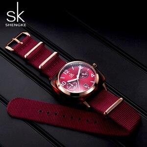 Image 1 - Shengke montre en Nylon pour femmes, bracelet, boîtier, imitation de coque, horloge de Sport, Zegarek Damski