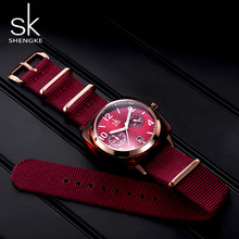 Shengke relógio feminino cinto de náilon lady assista imitar caso escudo relógio de pulso para feminino relógio esporte relogio feminino zegarek damski