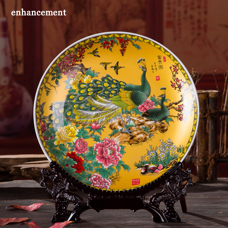 Royal Chinese Style Home Decor Ceramic Ornamental Plate Chinese Decoration Plate Wood Base Porcelain Plate Wedding Gift
