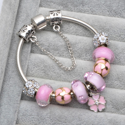 Authentic 925 Sterling Silver Bangles Bracelet Snake Chain Bracelets Fit Women Bangles Bead Charm DIY Jewelry