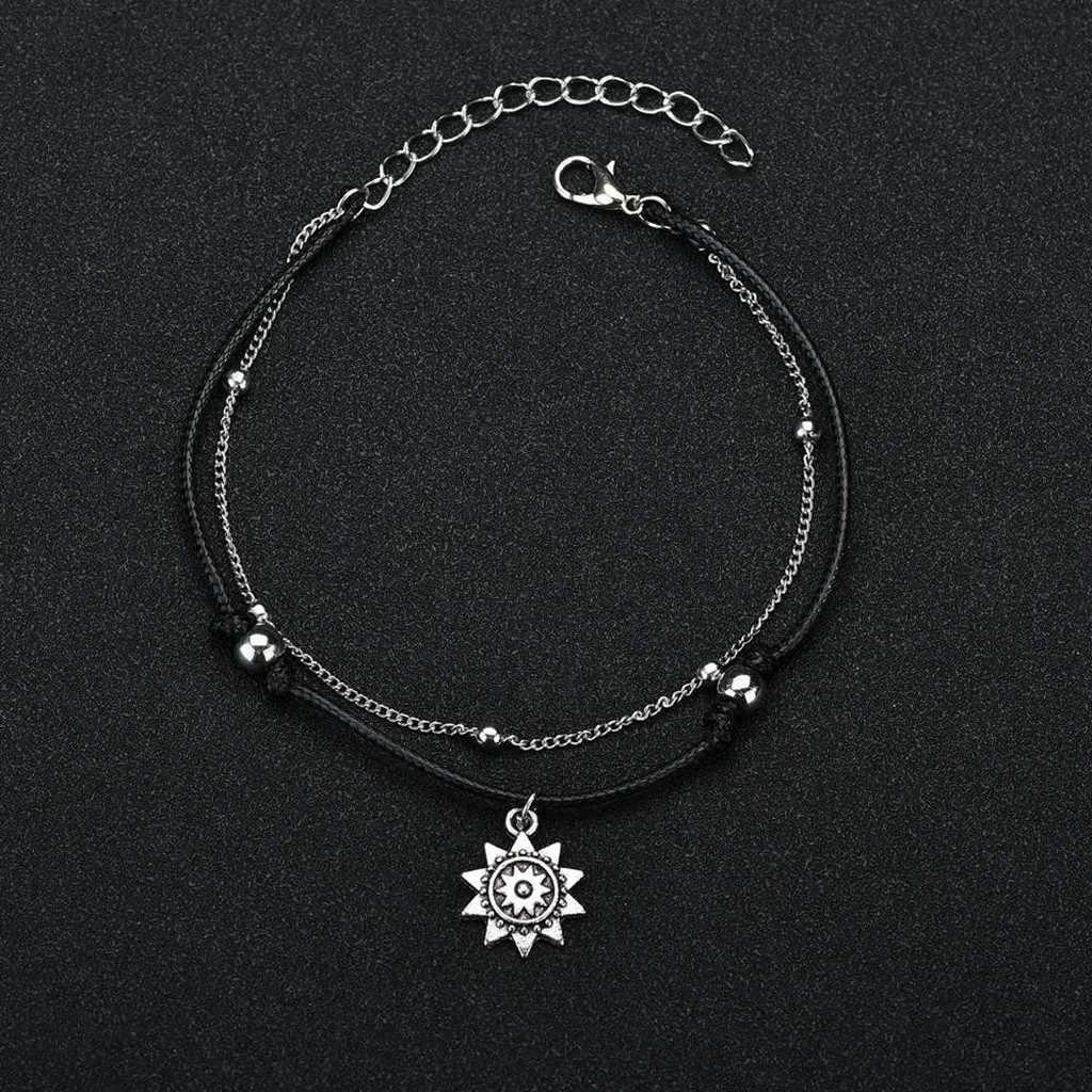 OTOKY łańcuszek na kostkę Vintage wisiorek obrączki dla kobiet wielowarstwowy bransoletki bransoletka Boho na nodze Pulseras Foot biżuteria 19May27