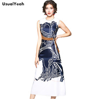 USUALYEAH Women Casual Mid calf Dress New Arrivals Sleeveless Vintage Horse Printing Spring Summer Long Dress for office lady