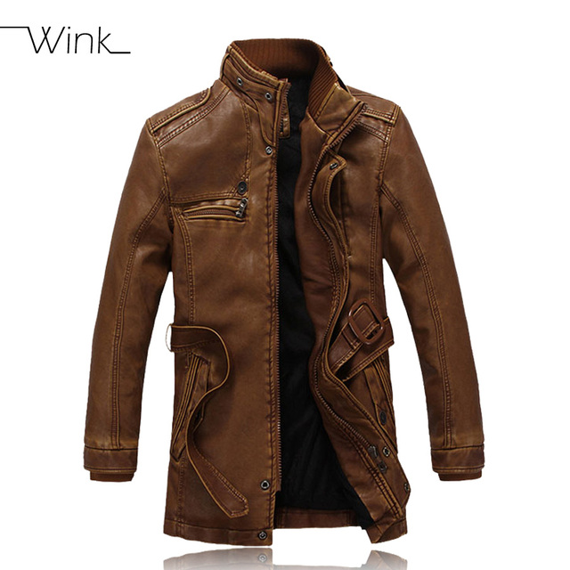 b8e90eb27cb Fleece Winter Leather Coats Men PU Jackets Stand Collar Mens Fashion  Outwear Motorcycle Thick Jaqueta De