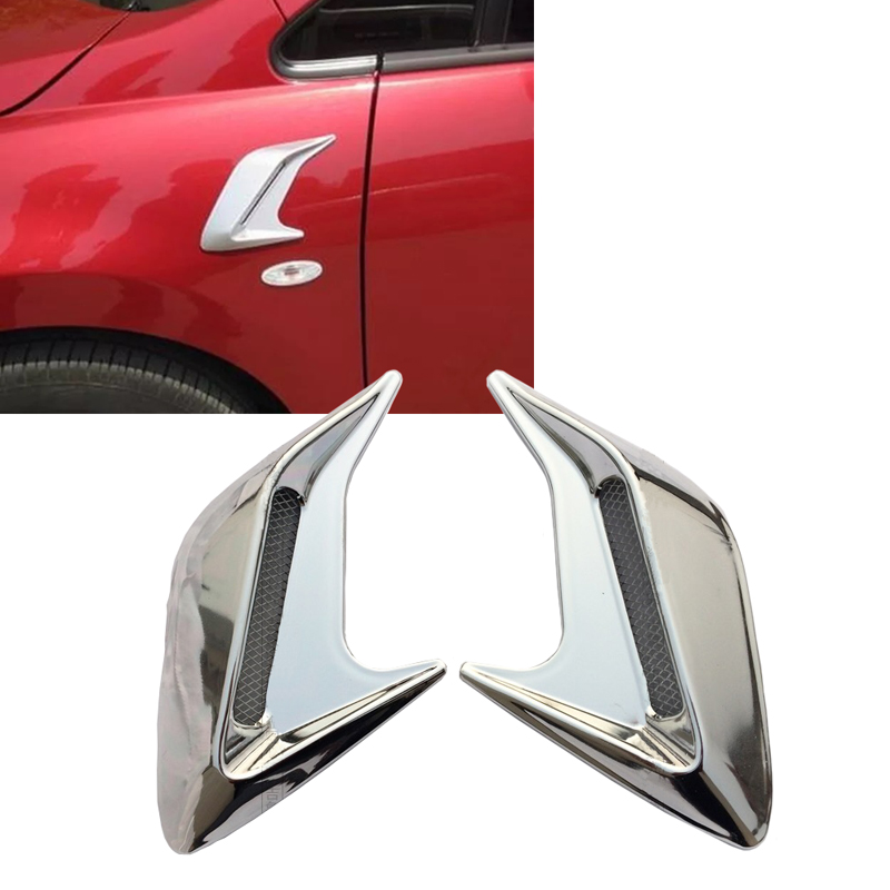 JEAZEA Car Styling ABS Chrome Side Air Vent Fender Cover Hole Intake Duct Flow Sticker For VW Audi Toyota BMW Kia Nissan frp fiber glass front headlight vented air duct cover replacement lhs tuning parts for nissan skyline r32 gtr gts