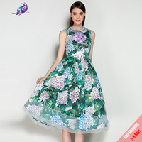 2017 Newest Runway Dress Brand Designer Spring Summer Flower Embroidery Beading Appliques Petal Sleeve Dress Free