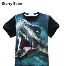 Summer 3D Animal Dinosaur Printed Kids Boys Short Sleeve T-Shirt Children Colthes Cotton Boy Tees Teenager t shirts Tops 4-12T недорого