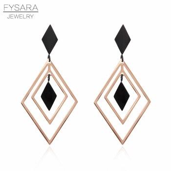 Fysara Geometric Black Hollow Rhombus Earrings Simple Jewelry Rose
