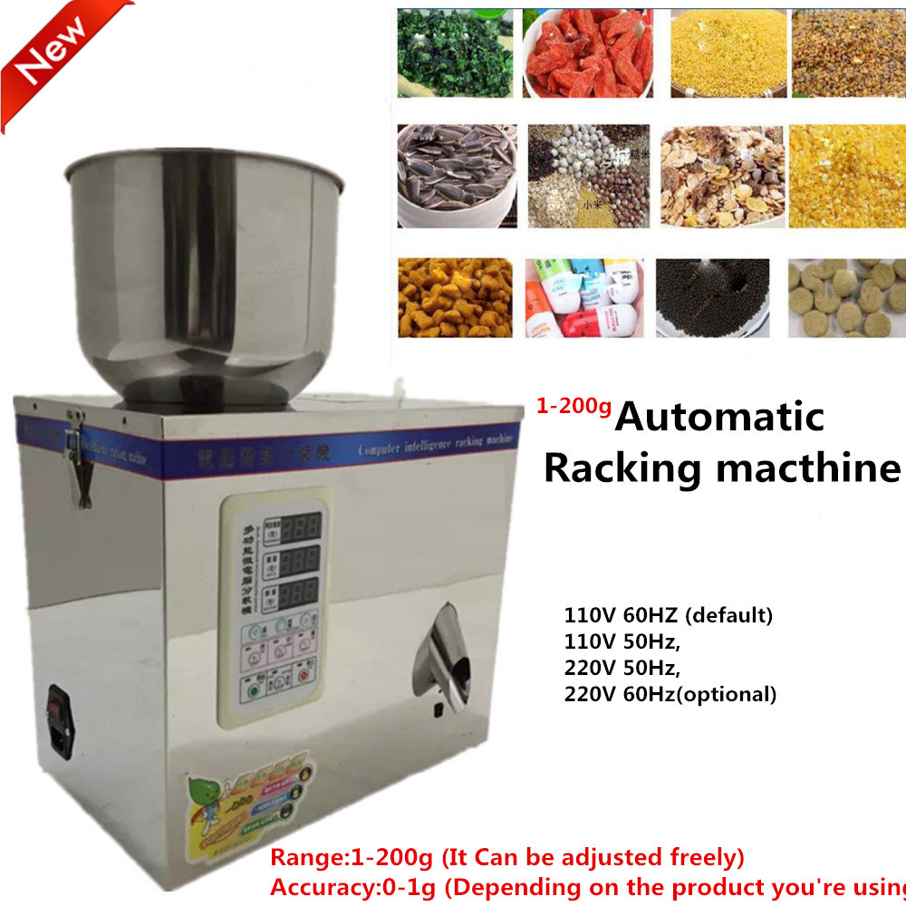 Fulling Racking Machine Packing machine 1~200g 220V Automatic Weighing Small Granular Pack Food Package New cursor positioning fully automatic weighing racking packing machine granular powder medicinal filling machine accurate 2 50g