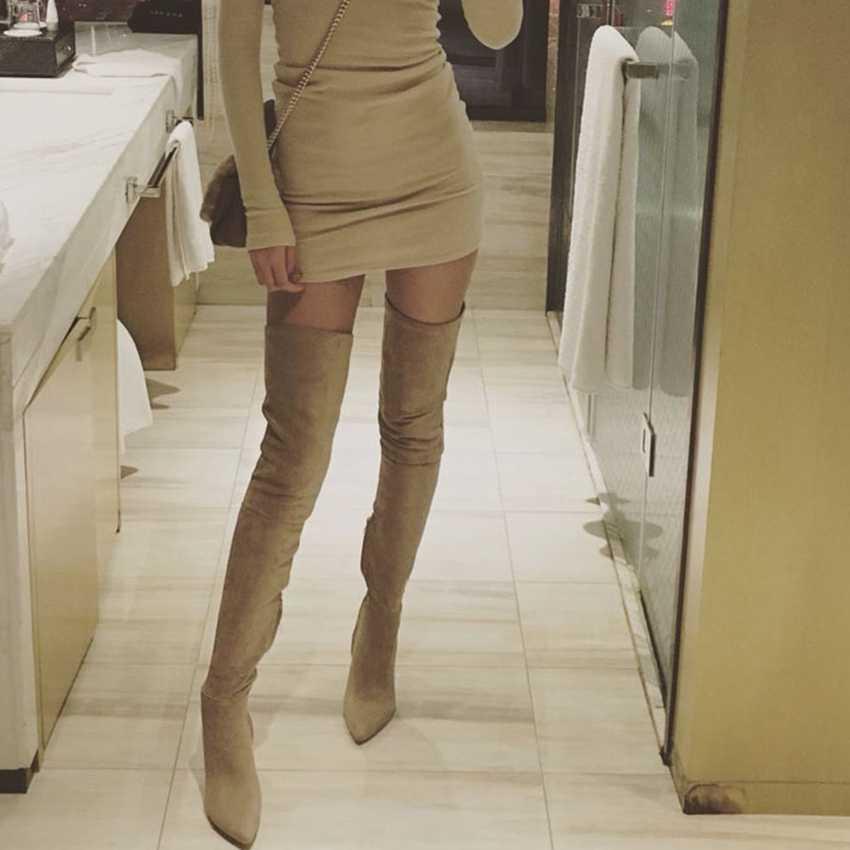 ใหม่ต้นขาสูงรองเท้าผู้หญิง 10.5 เซนติเมตรสูงส้นฤดูหนาวรองเท้าผู้หญิงหนังเข่า Lady Punk Boot สีดำรองเท้า