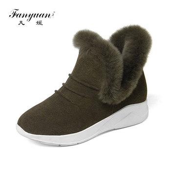 fanyuuan 2019 Women Ankle Boots Cow Suede Fashion Women Shoes Wedges Heel Platform Winter Women Motorcycle Boots Size 33-39