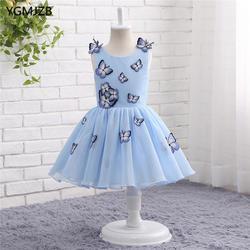 Прекрасный ребенок Синий Пышное Бальное Платье Платья для девочек на свадьбу для свадьбы платье для Первого Причастия платье для