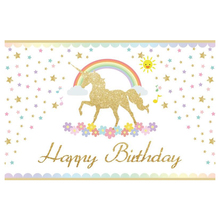 Laeacco Golden Unicorn Party Rainbow Star Birthday Baby Drawing Photography Backdrops Photographic Backgrounds For Photo Studio