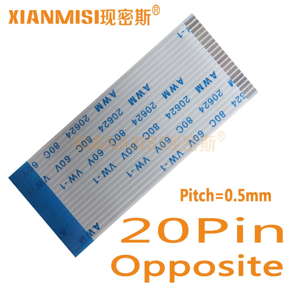 20Pin Flexible Flat Cable FFC  Opposite Side 0.5mm Pitch AWM 20624 80C 60V  Length 40cm 45cm 50cm 60cm 80cm 1M 2M 1.5M 3M 5PCS