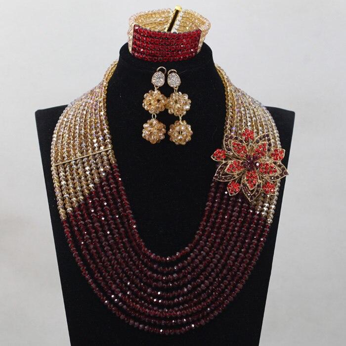 Derniers nouveaux invités de mariage vin et or perles africaines ensembles de bijoux Engagement Dubai or collier ensemble chaud livraison gratuite WD859 - 3