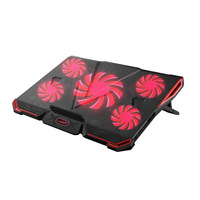 CoolCold Laptop Cooling Pad Notebook PC Cooler Air Cooled 5 LED Fans 2 USB Ports Adjustable