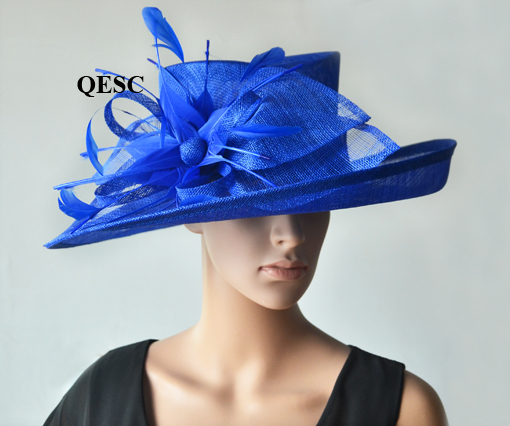 ac40272a489 Royal blue wide brim Dress Church Sinamay Hats with feather flowers for  Ascot Races