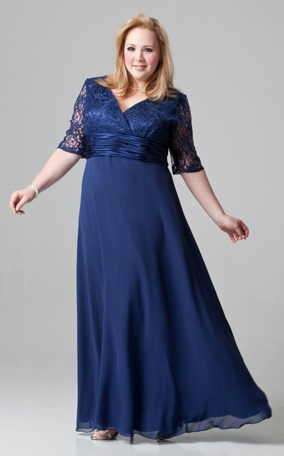 Plus Size Mother Of The Bride Dresses Half Sleeves Long Floor