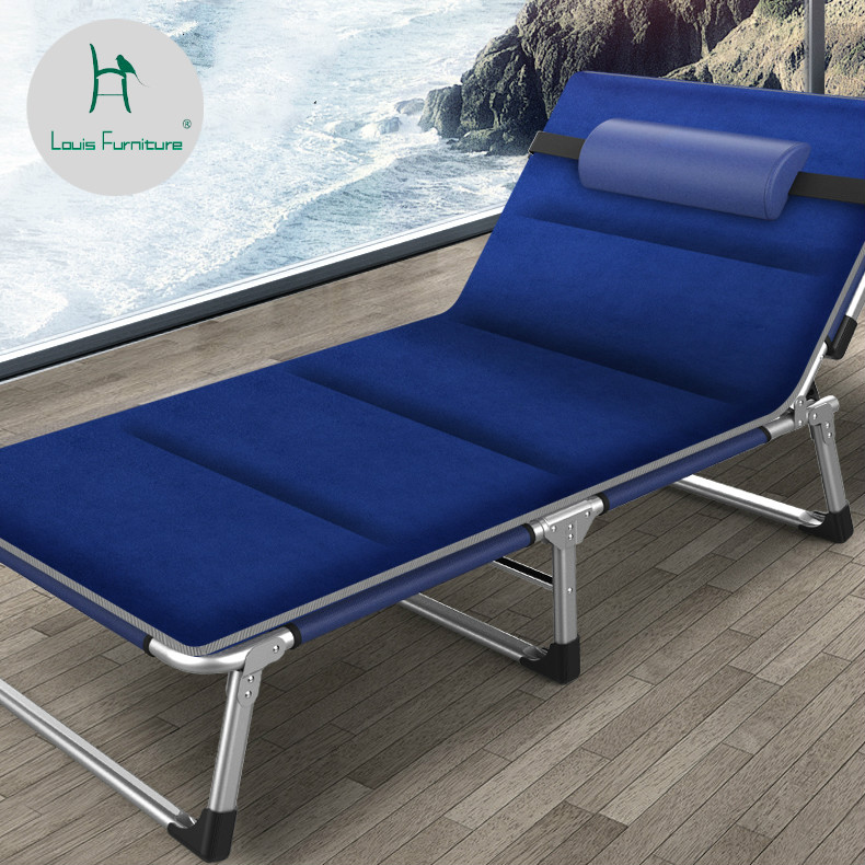 Louis Fashion Sun Loungers Deck Chair Summer Office Lunch Break Nap Bed Folding Single Adult Bed with Convenient Space Saving