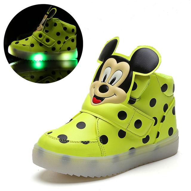 Top Selling Children Shoes With LED Light Boys Shoes Autumn Winter New Cartoon Dot Girls Sneakers Kids Sport Shoes Size 21-30