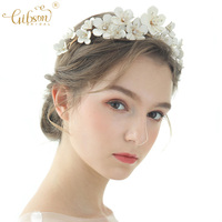 Fairy Wedding Tiara Leather Flower Bridal Hair Accessories Gold Crown Headdress Bride Headpiece For Women